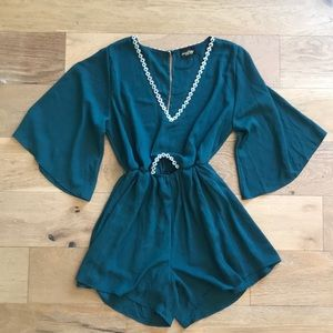 Jade Romper w Floral Embroidery